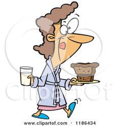 Cartoon of a Woman in a Robe, Licking Her Lips and Carrying Milk and Cake - Royalty Free Vector Clipart by Ron Leishman #1186434