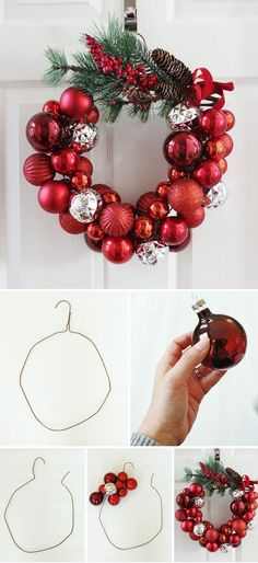 Christmas Ornament Wreath With A Wire Hanger. Christmas Ornament Wreath With A Wire Hanger. Festival Diy, Diy Fest, Christmas Ornament Wreath, Noel Christmas, Ornament Wreath Hanger, Diy Christmas Home Decor, Ball Ornaments, Christmas Movies, Ornaments Ideas