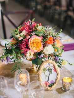 Colorful centerpiece: http://www.stylemepretty.com/south-carolina-weddings/mount-pleasant-south-carolina/2016/02/29/vibrant-cozy-south-carolina-plantation-wedding/   Photography: Perry Vaile - http://perryvaile.com/