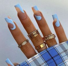 Acrylic Nails Light Blue, Blue Matte Nails, Bling Acrylic Nails, Square Acrylic Nails, Best Acrylic Nails, Acrylic Nails For Spring, Spring Nails, Nail Art Cute, Tapered Square Nails