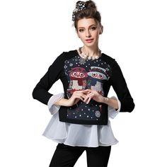 S- 5XL  Peplum Top    Owl Pattern Blouse Fall Winter Long Sleeve O-neck Patchwork Hem Like it? Visit us