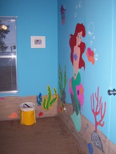 2 year olds Little Mermaid bedroom, My husband and I painted our daughters room like she is under the sea with the Ariel., Little Mermaid room, I still need to add curtains., Girls Rooms Design