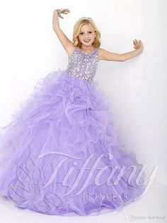 New 2016 Cheap Little Girls Pageant Dresses Lilac Organza Tiered Ruffle Crystal Beads Long Kids Flower Girls Dress Size Party Birthday Gowns Pageant Dresses For Tweens Pageant Dresses Girls From Haiyan4419, $89.01| Dhgate.Com