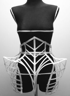 Cage Dress with exaggerated silhouette & sculptural 3D contours; experimental fashion design // Georgia Hardinge