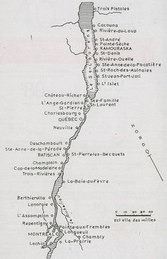 NewFranceSettlements.jpg Locations of early French settlements along the St. Lawrence River in Quebec.