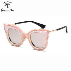 2e5d9f5820c6f FuzWeb  DRESSUUP Classic Vintage Cat Eye Marble Rose Gold Mirror Women  Stylish Sunglasses