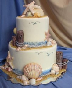 Tiered beach theme cake - shells.