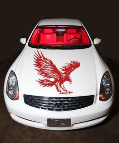 CAR HOOD VINYL STICKER DECALS GRAPHICS BIRD EAGLE FLAMING WINGS CUTE DESIGN T011