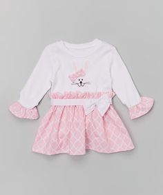 Pink Quatrefoil Bunny Appliqué Dress - Infant & Toddler by Caught Ya Lookin' #zulily #zulilyfinds
