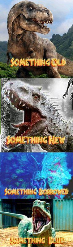 """Something Old. Something Borrowed. Something Blue"" - Jurassic Park/Jurassic World Jurassic Movies, Jurassic Park Series, Jurassic World Dinosaurs, Jurassic Park World, Michael Crichton, Something Borrowed, Something Old, Science Fiction, Jurrassic Park"
