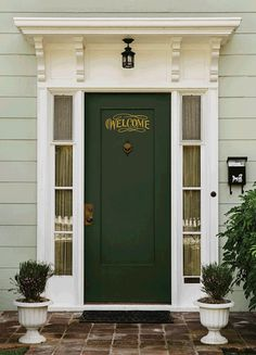 TEN BEST FRONT DOOR COLORS FOR YOUR HOUSE. Front doors should be an accent color. In other words, they should be a strong, dramatic, bold shade. Usually, your front door color should not be repeated anywhere else on your house Best Front Door Colors, Best Front Doors, Green Front Doors, Painted Front Doors, Front Door Awning, Door Overhang, Front Porch, Dark Front Door, Front Door Molding