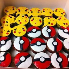 Pokemon cupcakes Reason: Geeky, most awesome game ever. Easy Pokemon cupcakes are a hit for the Pokemon lovers. Pokemon Cupcakes, Pokemon Torte, Pokemon Birthday Cake, 9th Birthday, Birthday Cupcakes, Boy Birthday Parties, Birthday Ideas, Happy Birthday, Bolo Pikachu
