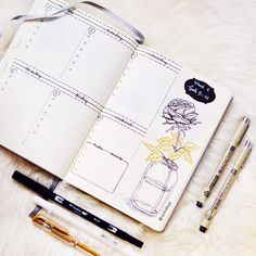 Bullet journal weekly layout, Valentine's Day drawing, flower in vase drawing, cursive daily headers, weekly task list. | @rachelbujo
