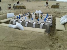 Sand Couch built by Delaware Surf Fishing for Nage Restaurant in Rehoboth DE ... in the summer of 2012 ... contact if interested in having one done for your beach party