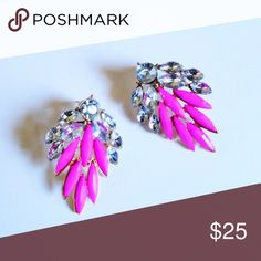 Pink Crystal Earrings Pink crystal earrings set. Gorgeous addition to your wardrobe adding glamour and class to your winter mostly dark color wardrobe. Silver tone post lead and nickel free. Designed by T&J designs a Poshmark associated brand recognized company. T&J Designs Jewelry Earrings