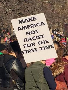 A must-see collection of clever and biting protest signs from the Women's March on Washington and sister marches around the world.: Make America Not Racist Protest Posters, Protest Signs, Political Signs, Protest Art, Political Art, Refugees, Power To The People, Intersectional Feminism, Patriarchy