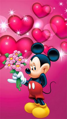 Mickey Mouse With Flowers Wallpaper