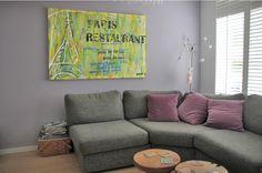 Paris Restaurant Tekstschilderijen van Daniel-art.nl Paris Restaurants, Van, Couch, Furniture, Home Decor, Settee, Decoration Home, Sofa, Room Decor