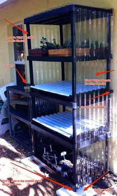 Mini-greenhouse out of shelving unit and polycarb roofing material - Modern Indoor Greenhouse, Greenhouse Plans, Greenhouse Gardening, Greenhouse Heaters, Diy Small Greenhouse, Greenhouse House, Greenhouse Shelves, Greenhouse Wedding, Aquaponics System
