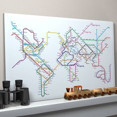Subway Tube Metro World Map Art Print by artPause, the perfect gift for Explore more unique gifts in our curated marketplace. Map Canvas, Canvas Prints, Metro Map, World Map Art, Color Depth, Pause, Fine Art Paper, Planer, New York