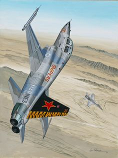 "Aviation Art: US Marine Corps Northrop F-5F Tiger II ""Aggressor"" dogfighting with a US Navy McDonnell-Douglas F/A-18C during DACTS (Dissimilar Air Combat Training)"