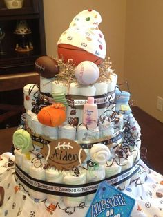 Diaper cake I made for my daughter's baby shower