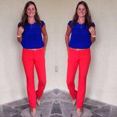 Look de trabalho - Look color block - color blocking - calça laranja - blusa azul klein