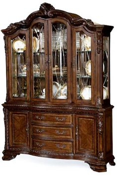 Merveilleux A.R.T. Furniture Old World Formal China Cabinet With Glass Shelving