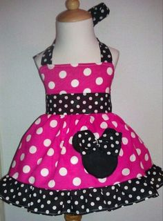 Girls - Minnie Mouse/ Disney Halter fuchsia Dress 12M To 6Y. $29.00, via Etsy.