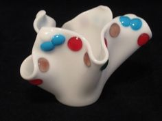 Funky  White Fused Glass Vase by Mellyns on Etsy, $31.00