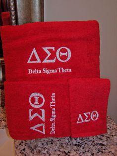 Delta Sigma Theta 3 Piece Red Towel Set (Bath, Hand and Wash)