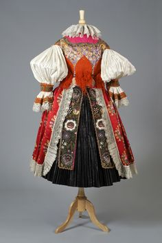 Czechoslovakian ensemble, back view, ca. This particular outfit comes from the village of Uhersky Ostroh in Moravian Slovakia, an area of the Czech Republic with a strong attachment to folk traditions. Drag Clothing, Folk Clothing, Historical Costume, Historical Clothing, Traditional Fashion, Traditional Dresses, Folk Costume, Costumes, Culture Clothing