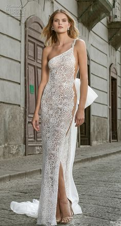 """Stunning Embroidered One Shoulder Slit Flit and Flare Wedding Dress / Bridal Gown with a Train. Fall Winter Bridal Couture Collection """"Napoli"""" by Berta Gorgeous Wedding Dress, Dream Wedding Dresses, Bridal Dresses, Wedding Gowns, Grecian Wedding, Dresses Uk, Bridal Gown, Mermaid Wedding, Bridal Looks"""