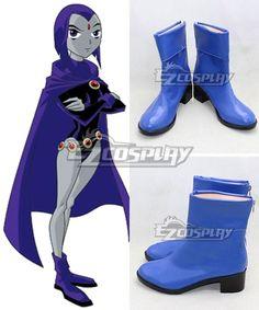 DC Teen Titans Season Raven Pride Rachel Roth Blue Shoes Cosplay Boots Raven Cosplay, Cosplay Boots, Raven Teen Titans Go, Blue Shoes, Dc Comics, Halloween Costumes, Pride, Seasons, Heels