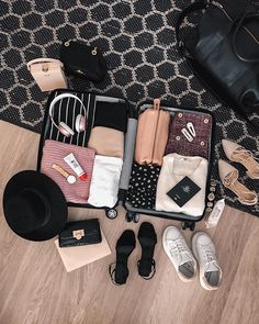 Here's to suitcase living for another few weeks. ✌🏼🧳 *Flat lay may appear prettier than real suitcase packing. 🙈 Can you guess where we… Vacation Packing, Packing Tips For Travel, Travel List, Travel Essentials, Packing Ideas, Suitcase Packing, Travel Luggage, Travel Bags, Travel Plane