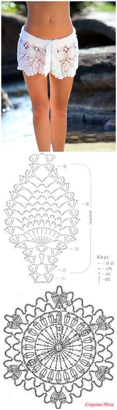 crochet shorts. Free charts and written patterns of the motifs