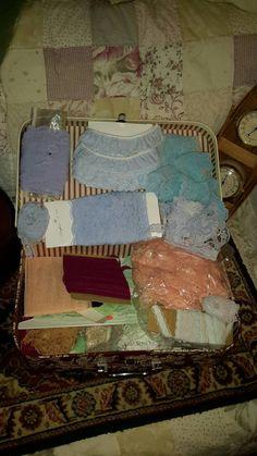 Lace Lot In Childs Cowboy Suitcase Estate Blue by AntiquesandVaria