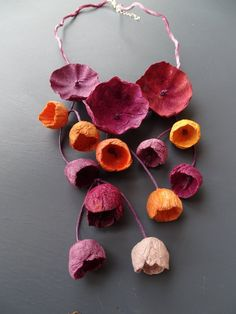 Paper Bead Jewelry, Paper Earrings, Metal Clay Jewelry, Fabric Jewelry, Paper Beads, Beaded Jewelry, Jewellery, Paper Mache Flowers, Paper Mache Crafts