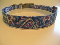 Handmade Cotton Dog Collar - Watercolor Paisley by WalkingTheDog on Etsy