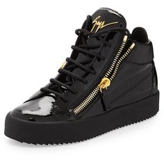 Giuseppe Zanotti Mirrored Low-Top Zip Sneaker ($790) ❤ liked on Polyvore featuring shoes, sneakers, black, high heel shoes, flat platform shoes, black shoes, high heel sneakers and giuseppe zanotti sneakers