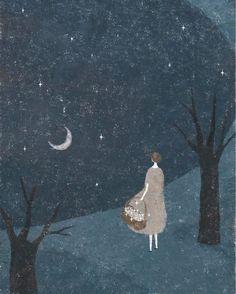 illustration by Akira Kusaka Art And Illustration, Illustrations, Akira, Inspiration Artistique, Art Graphique, Moon Art, Naive, Stars And Moon, Art History