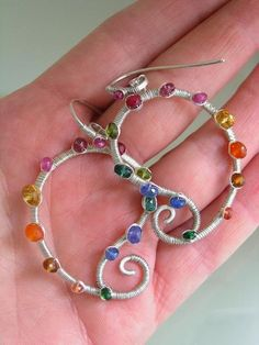 Rainbow Paislies...Multi-Gemstone Studded Signature Original Sterling Sculptural Paisley Hoop Earrings
