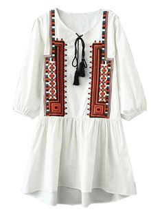 European Fashion 2016 Women Boho Style Embroidery Mini Dresses Blue V-Neck Bow Three Quarter Sleeve Fit Casual Vestidos Balochi Dress, Blouse Dress, Boho Dress, Caftan Dress, Ethnic Fashion, Boho Fashion, Fashion Outfits, Fashion Design, Fashion 2016