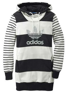 Adidas Originals Long Logo Hoody - Long hoody in a striped design with  drawstring at the neck and branded logo on the front.