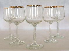 Wine Glasses 10 oz.Gold Rim Luminarc' Ware by HalfPintVintageFinds