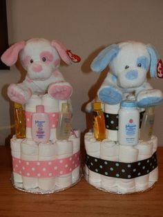 Baby Diaper Cake Plush Ty Dogs on top by ladybugladyjjjsalon, $42.40