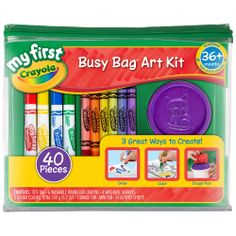 Product Description Kit includes: 6 washable triangular crayons 4 washable markers with gumball nib Three packs of Super Soft Dough Dough container with molds on lid and bottom x mini pad with 20 sheets 24 activity sheets Durable container Crayola Art Set, Washable Paint, Plastic Art, Art Case, Busy Bags, Activity Sheets, First Art, Toy Store, Kids Playing