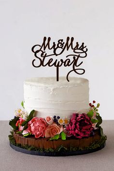 Excited to share the latest addition to my #etsy shop: Custom Cake Topper Rustic Wedding Cake Topper Mr Mrs Last Name Cake Topper Personalized Monogram Gold Silver cake topper #weddings #decoration