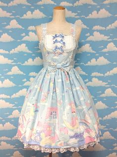 Dream Fantasy JSK and Headbow Set in Sax from Angelic Pretty - Lolita Desu
