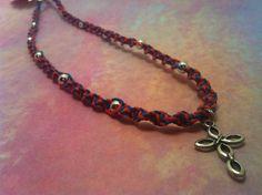 Orange & Blue #Cross #Hemp #Necklace 1897 by #HemptressDesigns on Etsy, $13.00 hemptressdesigns.com #handmade